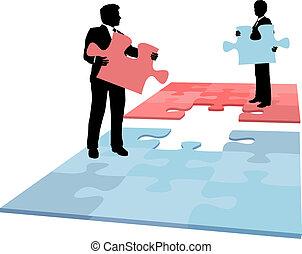 handlowy zaludniają, połączenie, współpraca, rozłączenie, kawał, zagadka