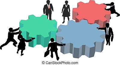 handlowy zaludniają, praca, razem, plan, technologia