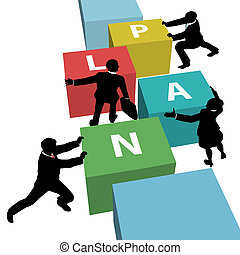 handlowy zaludniają, razem, plan, drużyna, przeć