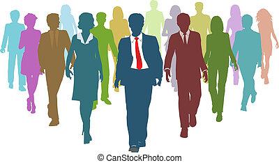 handlowy zaludniają, rozmaity, ludzki, zaprzęg lider, zasoby