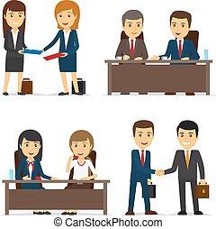 handlowy zaludniają, spotkanie