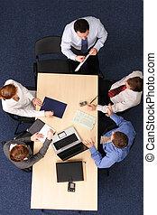 handlowy zaludniają, -, szef, piątka, mowa, spotkanie