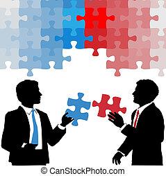 handlowy zaludniają, współpraca, rozłączenie, utrzymywać, zagadka