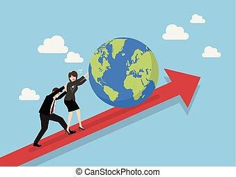 handlowy zaludniają, wykres, rzutki do góry, świat