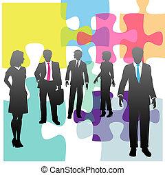 handlowy zaludniają, zagadka, rozłączenie, ludzki, problem, zasoby