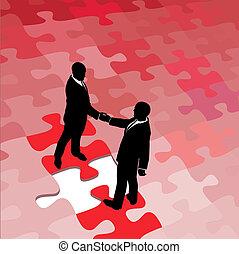 handlowy zaludniają, zagadka, rozłączenie, problem, zgodzić się