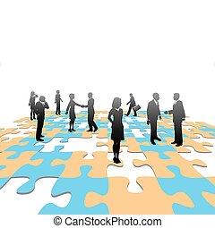 handlowy zaludniają, zagadka, wyrzynarka, rozłączenie, kawałki, drużyna