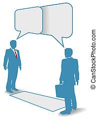 handlowy zaludniają, zakomunikowanie spokrewniają się, spotykać, rozmowa