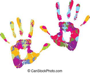 handprint., wektor, ilustracja