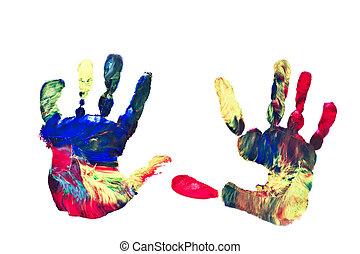 handprints, barwiony