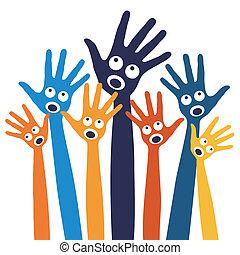 hands., radosny, ludzie, śpiew