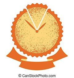 hands., zegar, symbol, -, sroka, time., bakery., ciastko, logo, wstążka