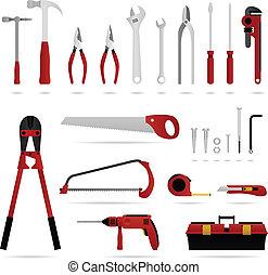 hardware, instrument, komplet, wektor