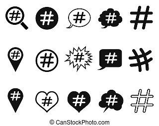 hashtag, komplet, ikony