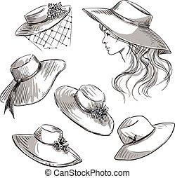 hats., dziewczyna, komplet, fason, hat.