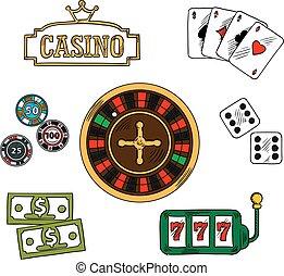 hazard, kasyno, komplet, ikony