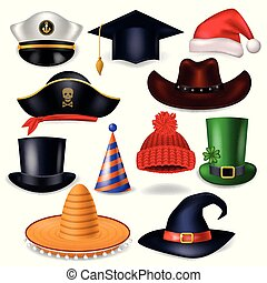 headwear, urodziny, biały, pirat, stroik, wektor, odizolowany, kowboj, tło, ilustracja, kapelusz czarownicy, kłobuk, rysunek, świętując, święty, albo, komik, chrisrmas, komplet, zabawny, korona, partia