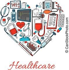 healthcare, formułować, serce, ikony