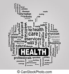 healthcare, jabłko, pojęcie, zdrowie, wordcloud
