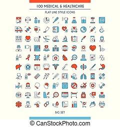 healthcare, medyczny, komplet, ikony