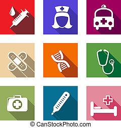 healthcare, płaski, medyczny, komplet, ikony