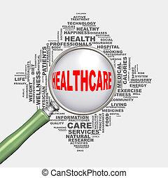 healthcare, szkło powiększające, 3d, wordcloud, pojęcie