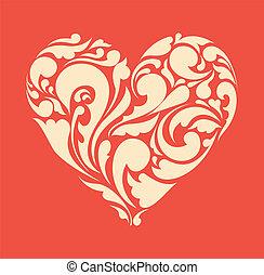 heart., afisz, abstrakcyjny, retro, kwiatowy, miłość, concept.