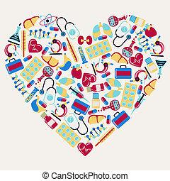 heart., ikony, medyczny, formułować, sanitarna troska