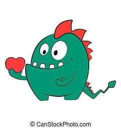 heart., potwór, odizolowany, valentine, miłość, smok, rysunek, illustration.