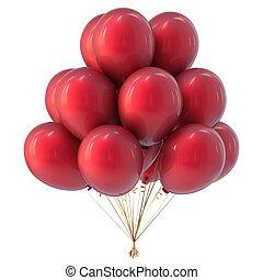 hel, balony, czerwony, barwny, grono