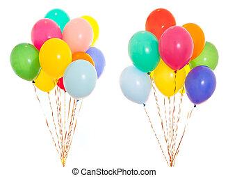 hel, odizolowany, biały, grono, barwny, wypełniony, balony