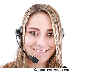 helpline, jasny, przyjacielski, samica, operator, obraz
