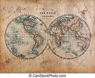 hemisfer, świat, stary, mapa