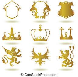 heraldyczny, wektor, komplet, złoty, elements.