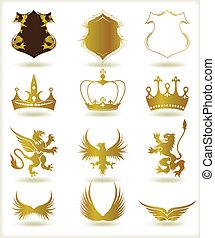 heraldyczny, wektor, zbiór, złoty, elements.