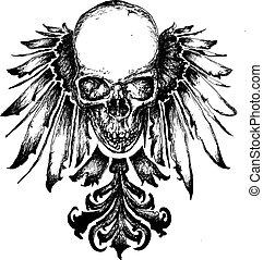 heraldyka, czaszka, ilustracja