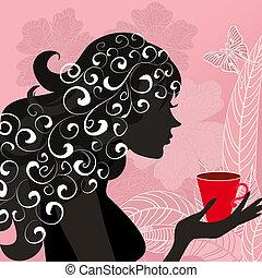 herbata, dziewczyna, kwiat