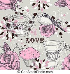 herbata, miłość, seamless, próbka