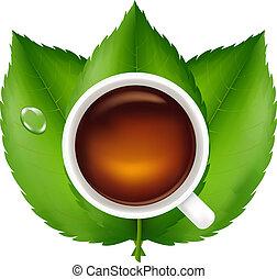 herbata odchodzi, zielony, filiżanka