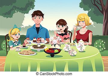 herbata, posiadanie, razem, rodzinna partia