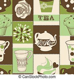 herbata, retro, próbka, seamless, cupcake