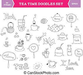 herbata, wektor, elementy, doodle