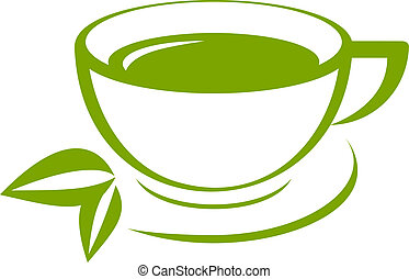 herbata, wektor, zielony, ikona, filiżanka