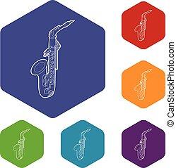 hexahedron, wektor, saksofon, ikony