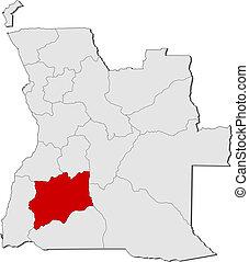 highlighted, mapa, angola, huila