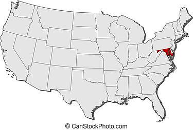 highlighted, mapa, maryland, stany zjednoczony