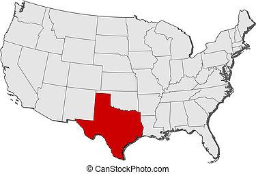 highlighted, mapa, zjednoczony, texas, stany