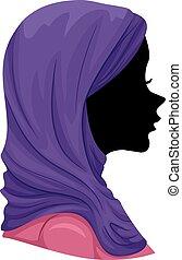 hijab, dziewczyna, muslim, sylwetka, ilustracja