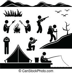 hiking, obóz, dżungla, obozowanie, trekking