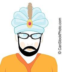 hindus, kapelusz, człowiek